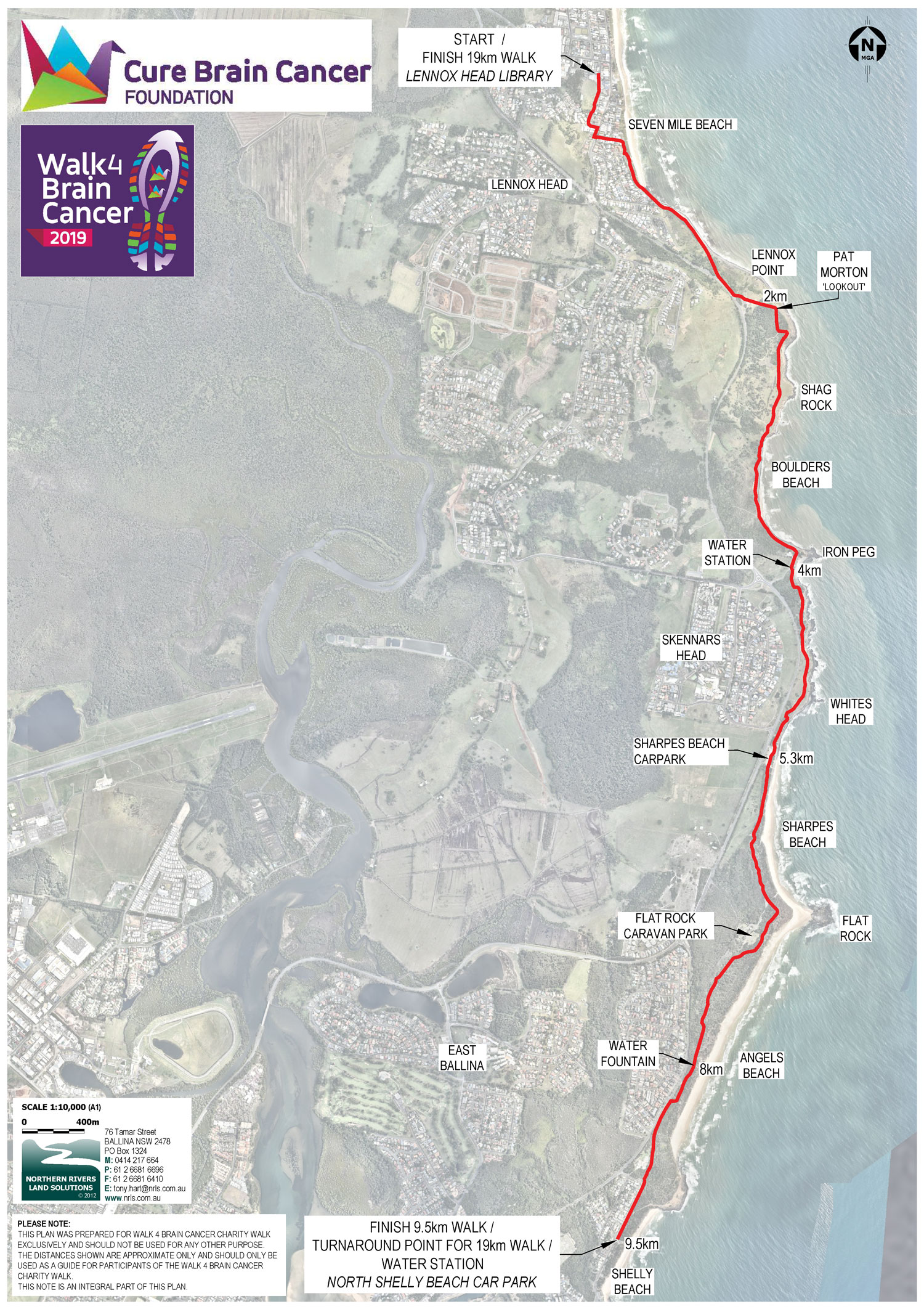 Lennox Head to Ballina Walk4BrainCancer Map